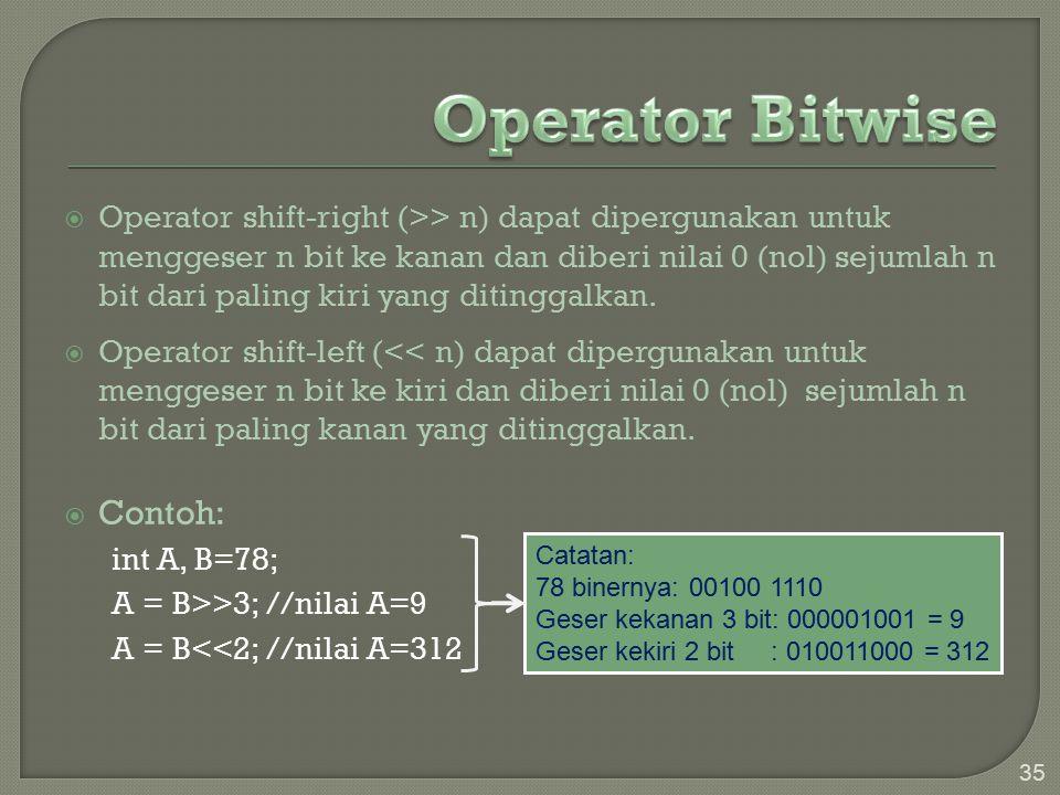 Operator Bitwise Contoh: