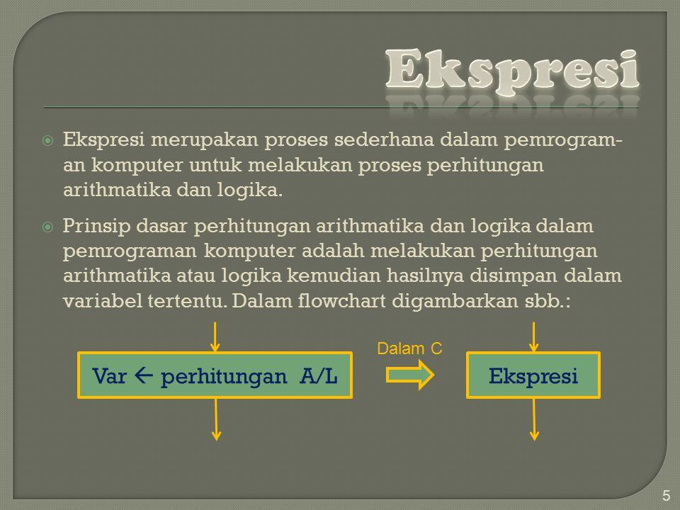 Ekspresi Var  perhitungan A/L Ekspresi