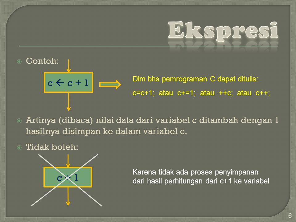 Ekspresi c  c + 1 c + 1 Contoh:
