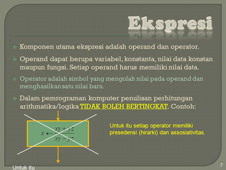 Ekspresi Komponen utama ekspresi adalah operand dan operator.