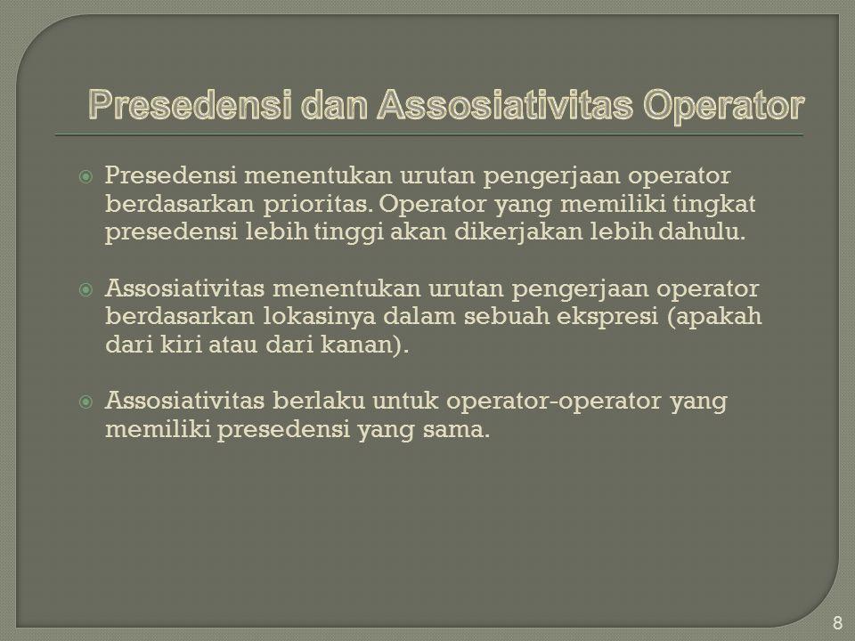 Presedensi dan Assosiativitas Operator