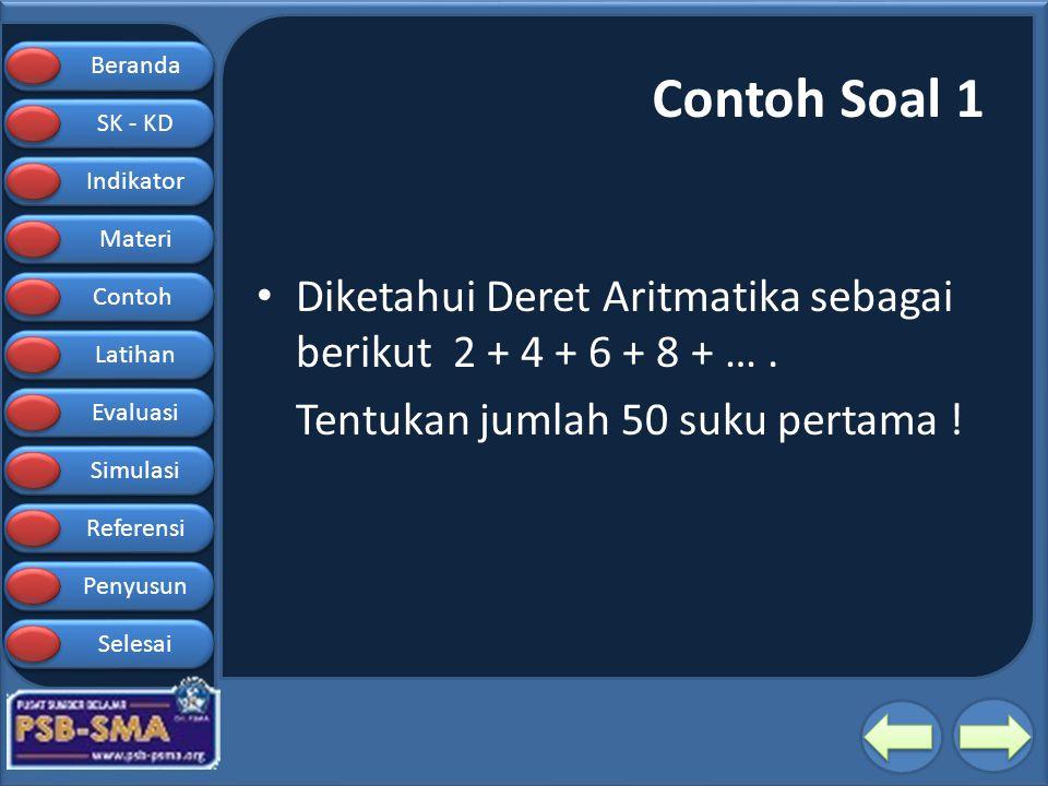 Contoh Soal 1 Diketahui Deret Aritmatika sebagai berikut 2 + 4 + 6 + 8 + … .