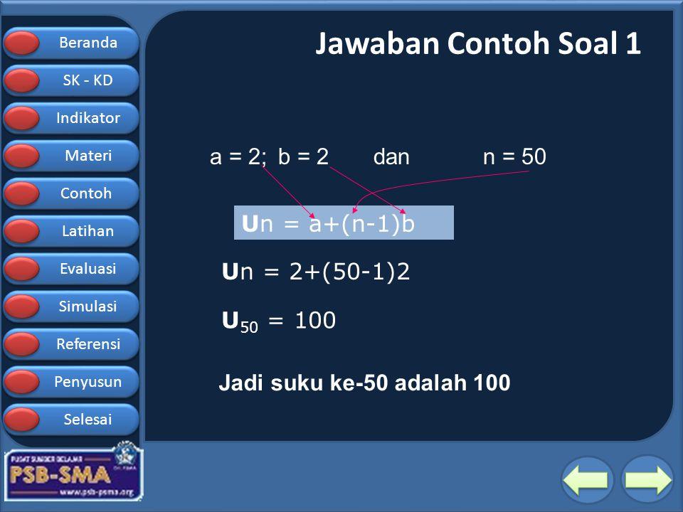 Jawaban Contoh Soal 1 a = 2; b = 2 dan n = 50 Un = a+(n-1)b