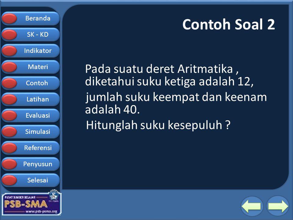 Contoh Soal 2 Pada suatu deret Aritmatika , diketahui suku ketiga adalah 12, jumlah suku keempat dan keenam adalah 40.