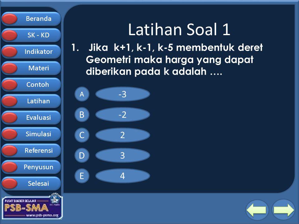 Latihan Soal 1 Jika k+1, k-1, k-5 membentuk deret Geometri maka harga yang dapat diberikan pada k adalah ….
