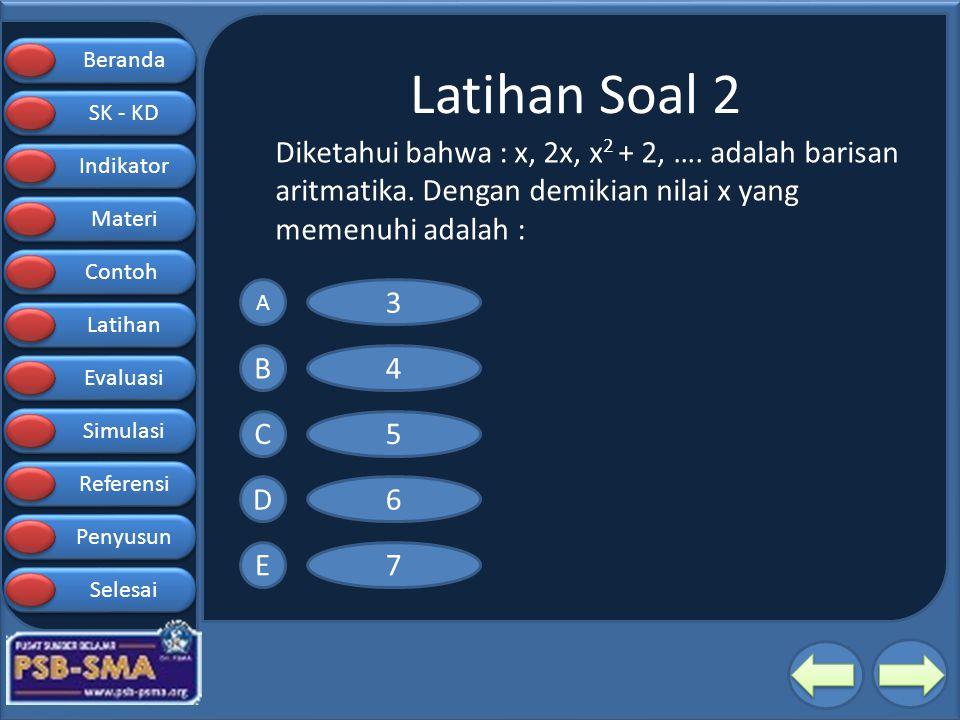 Latihan Soal 2 Diketahui bahwa : x, 2x, x2 + 2, …. adalah barisan aritmatika. Dengan demikian nilai x yang memenuhi adalah :