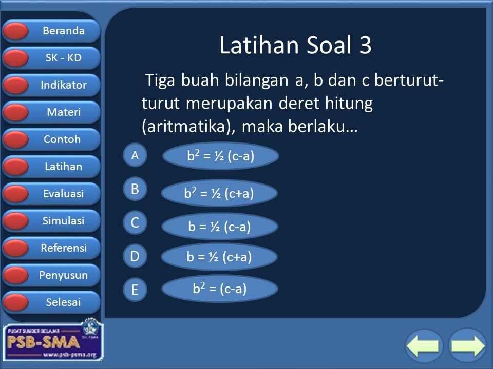 Latihan Soal 3 Tiga buah bilangan a, b dan c berturut-turut merupakan deret hitung (aritmatika), maka berlaku…
