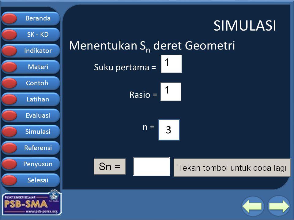 SIMULASI Menentukan Sn deret Geometri Suku pertama = Rasio = n = 3