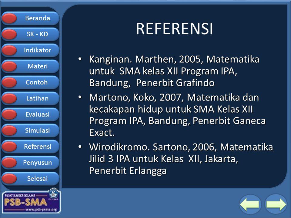 REFERENSI Kanginan. Marthen, 2005, Matematika untuk SMA kelas XII Program IPA, Bandung, Penerbit Grafindo.