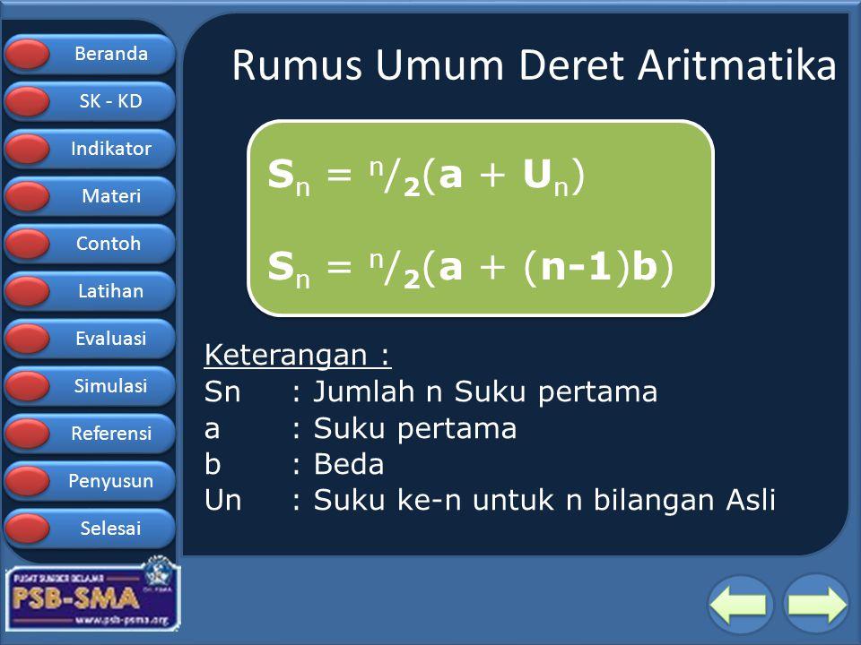 Rumus Umum Deret Aritmatika