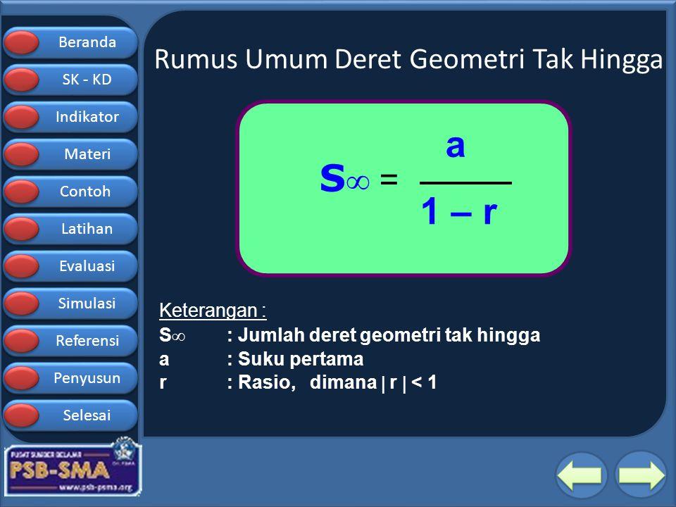 Rumus Umum Deret Geometri Tak Hingga