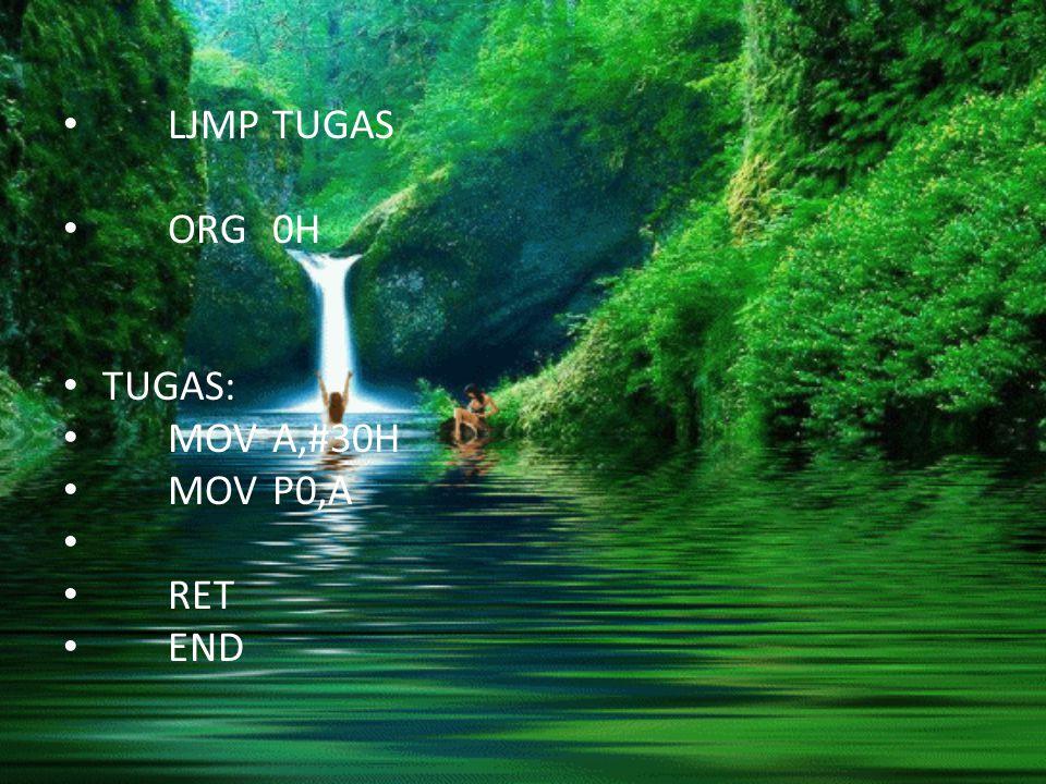 LJMP TUGAS ORG 0H TUGAS: MOV A,#30H MOV P0,A RET END