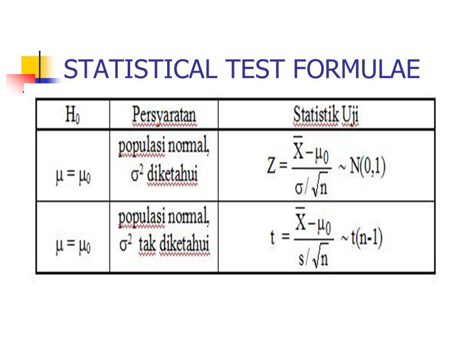 STATISTICAL TEST FORMULAE