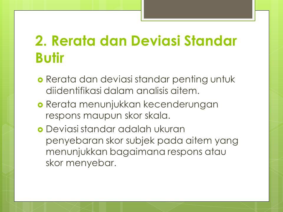 2. Rerata dan Deviasi Standar Butir
