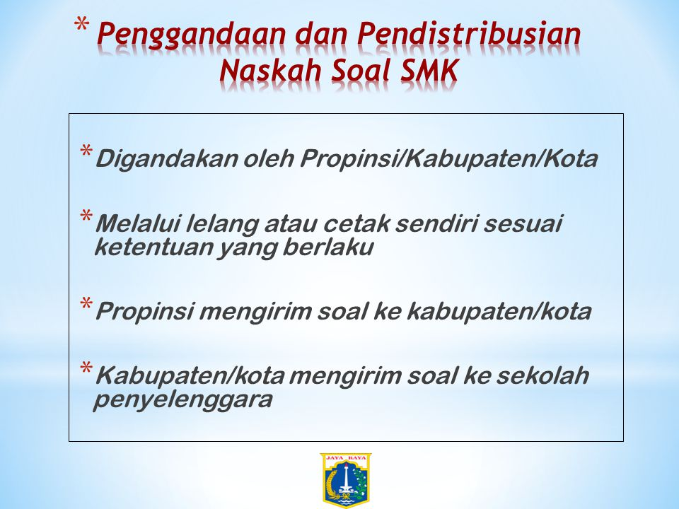Penggandaan dan Pendistribusian Naskah Soal SMK