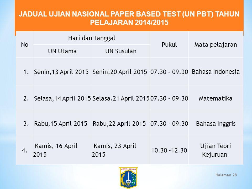 JADUAL UJIAN NASIONAL PAPER BASED TEST (UN PBT) TAHUN PELAJARAN 2014/2015