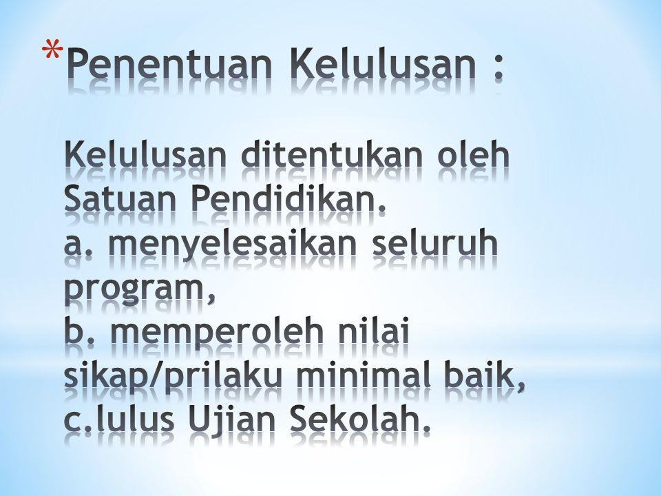 Penentuan Kelulusan : Kelulusan ditentukan oleh Satuan Pendidikan. a