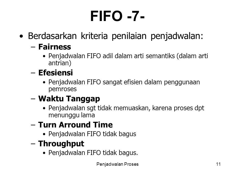 FIFO -7- Berdasarkan kriteria penilaian penjadwalan: Fairness