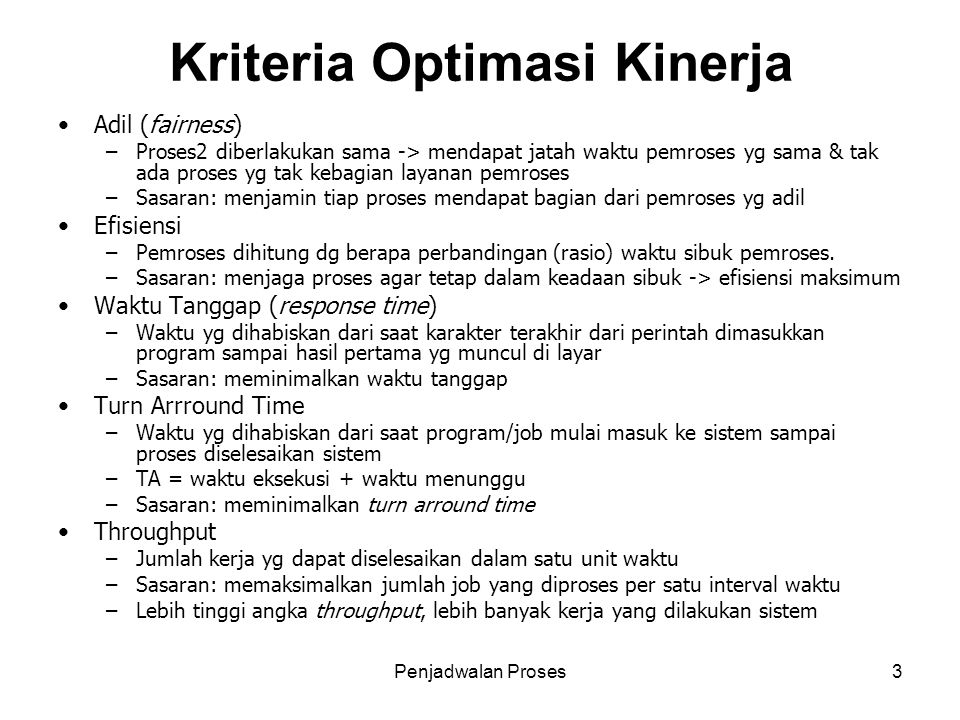 Kriteria Optimasi Kinerja