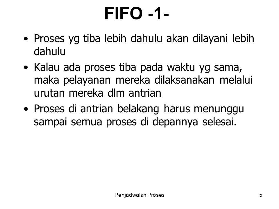 FIFO -1- Proses yg tiba lebih dahulu akan dilayani lebih dahulu