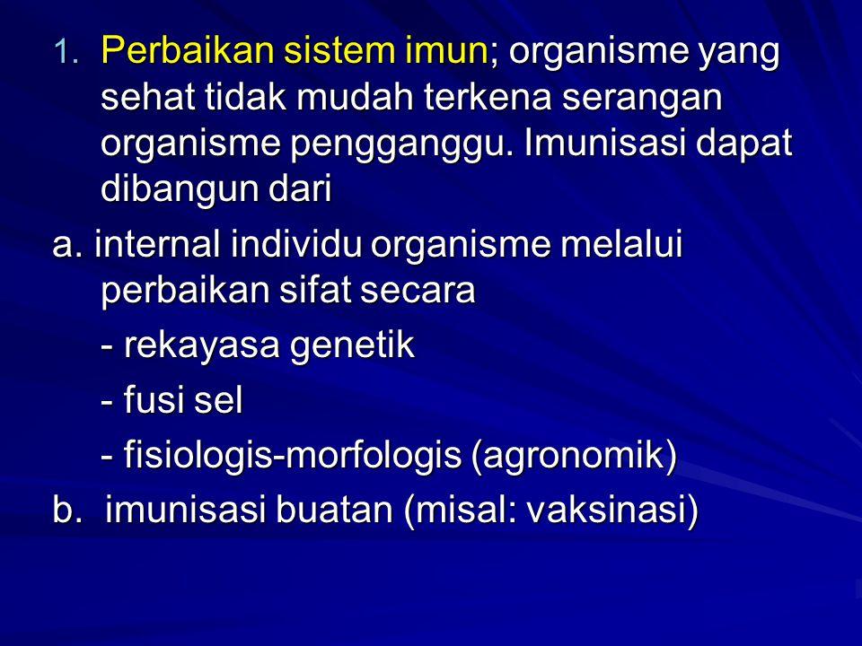 Perbaikan sistem imun; organisme yang sehat tidak mudah terkena serangan organisme pengganggu. Imunisasi dapat dibangun dari