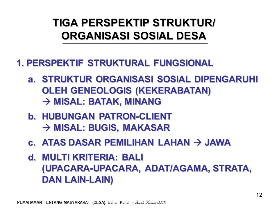 TIGA PERSPEKTIP STRUKTUR/ ORGANISASI SOSIAL DESA