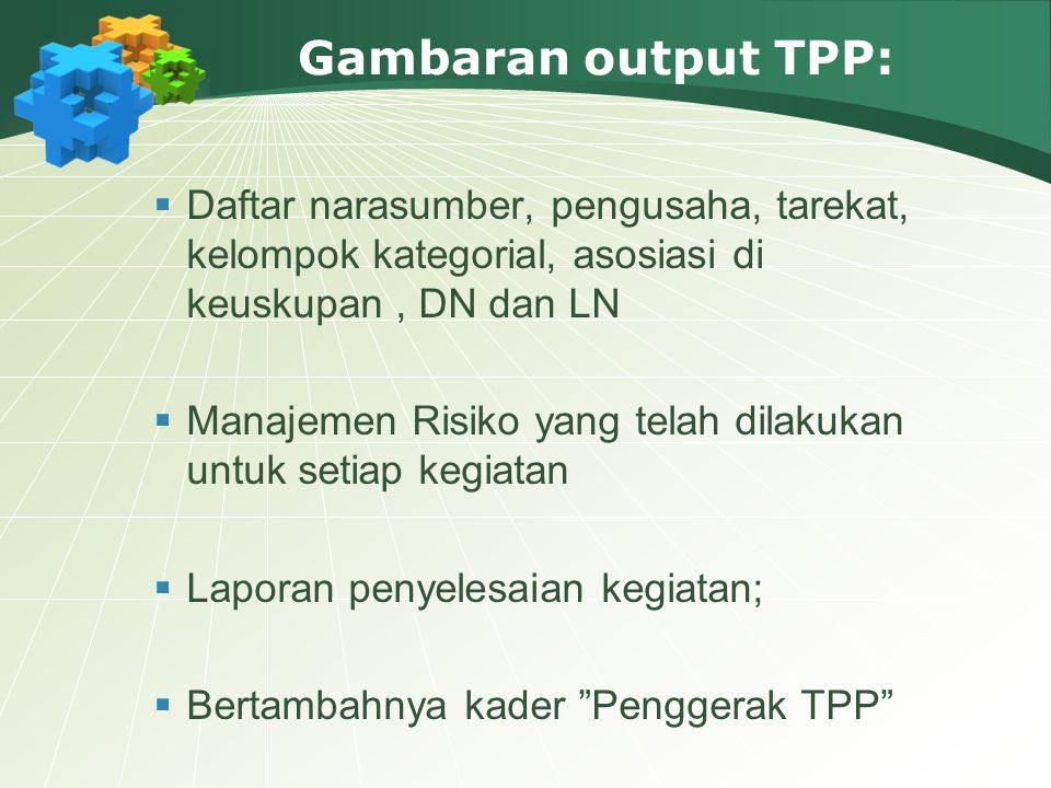 Gambaran output TPP: Daftar narasumber, pengusaha, tarekat, kelompok kategorial, asosiasi di keuskupan , DN dan LN.