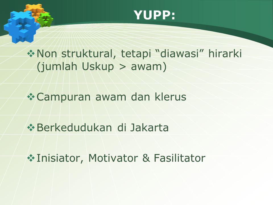 YUPP: Non struktural, tetapi diawasi hirarki (jumlah Uskup > awam) Campuran awam dan klerus. Berkedudukan di Jakarta.