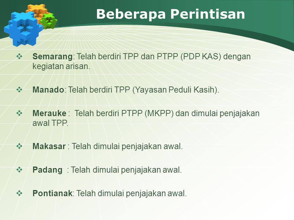 Beberapa Perintisan Semarang: Telah berdiri TPP dan PTPP (PDP KAS) dengan kegiatan arisan. Manado: Telah berdiri TPP (Yayasan Peduli Kasih).