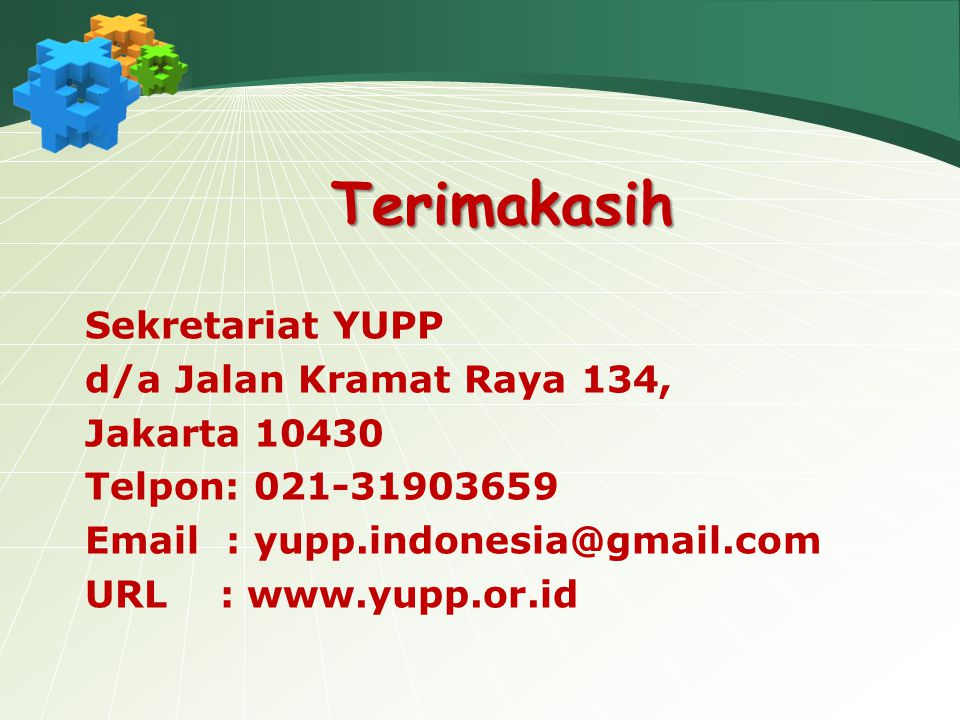 Terimakasih Sekretariat YUPP d/a Jalan Kramat Raya 134, Jakarta 10430
