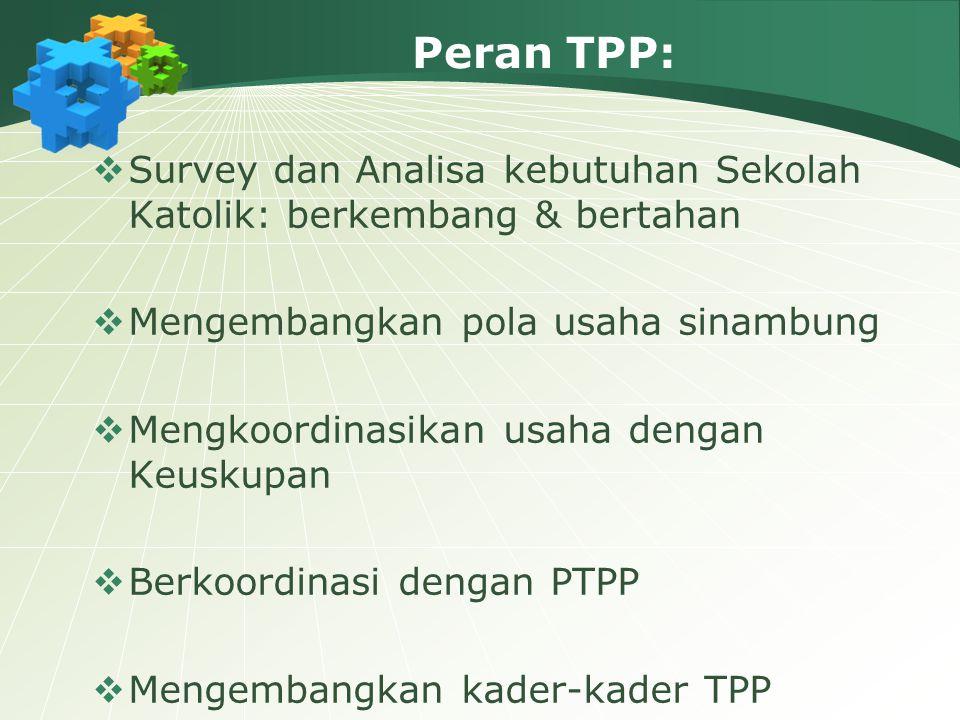 Peran TPP: Survey dan Analisa kebutuhan Sekolah Katolik: berkembang & bertahan. Mengembangkan pola usaha sinambung.