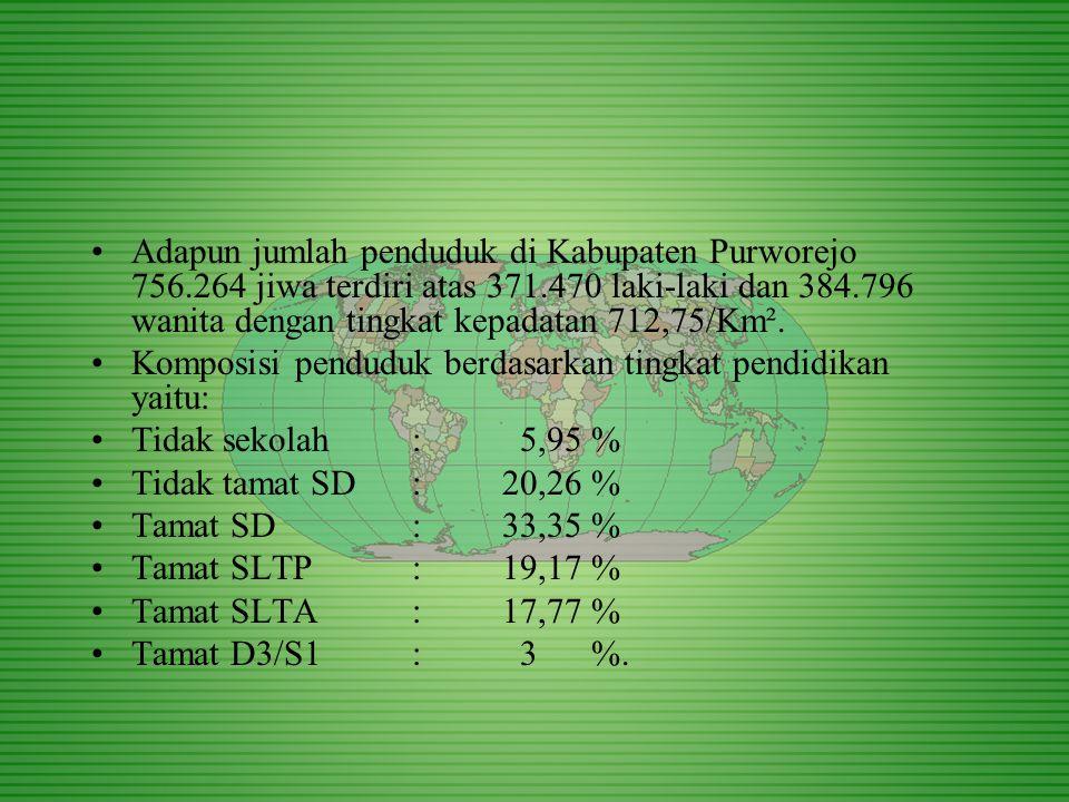 Adapun jumlah penduduk di Kabupaten Purworejo 756