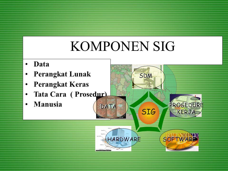 KOMPONEN SIG Data Perangkat Lunak Perangkat Keras