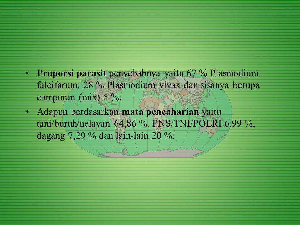 Proporsi parasit penyebabnya yaitu 67 % Plasmodium falcifarum, 28 % Plasmodium vivax dan sisanya berupa campuran (mix) 5 %.