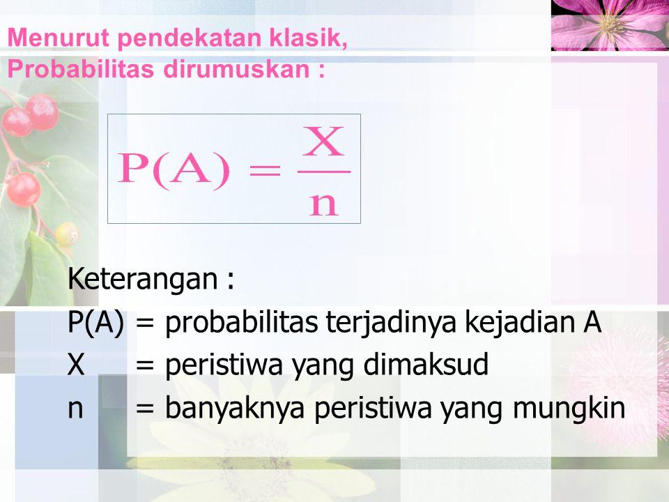 Menurut pendekatan klasik, Probabilitas dirumuskan :