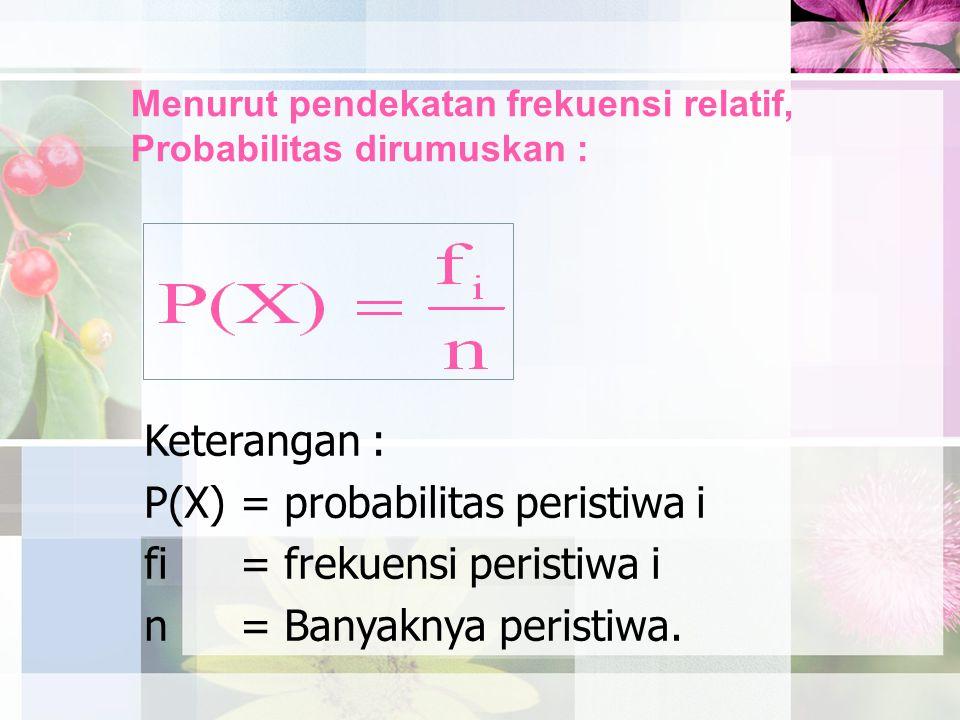 Menurut pendekatan frekuensi relatif, Probabilitas dirumuskan :