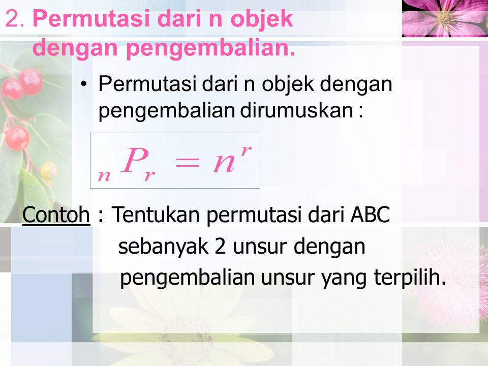 2. Permutasi dari n objek dengan pengembalian.