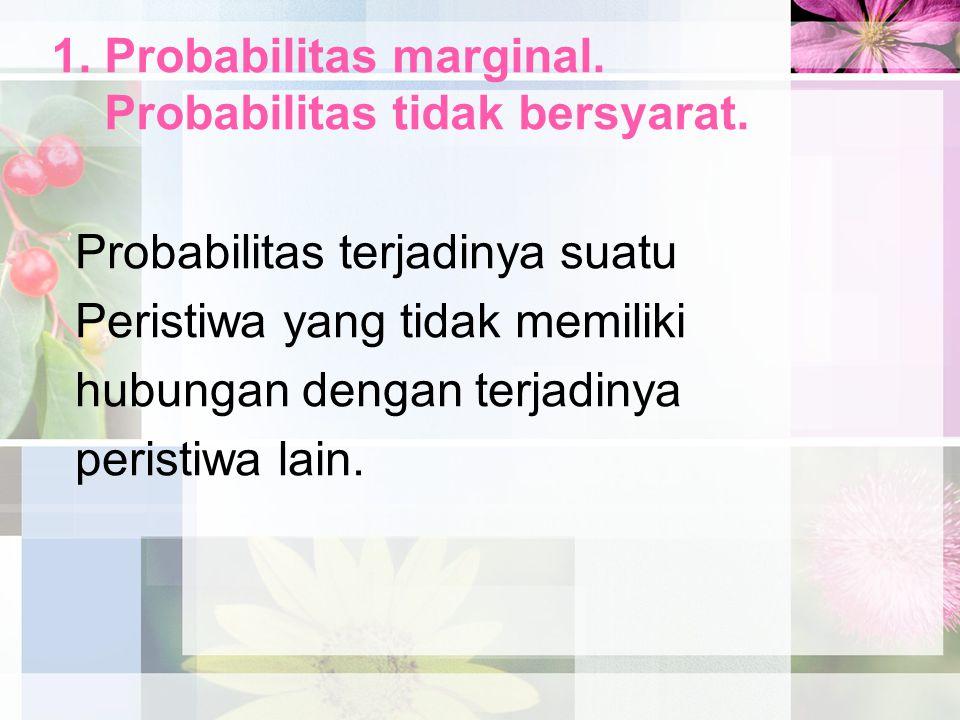 1. Probabilitas marginal. Probabilitas tidak bersyarat.