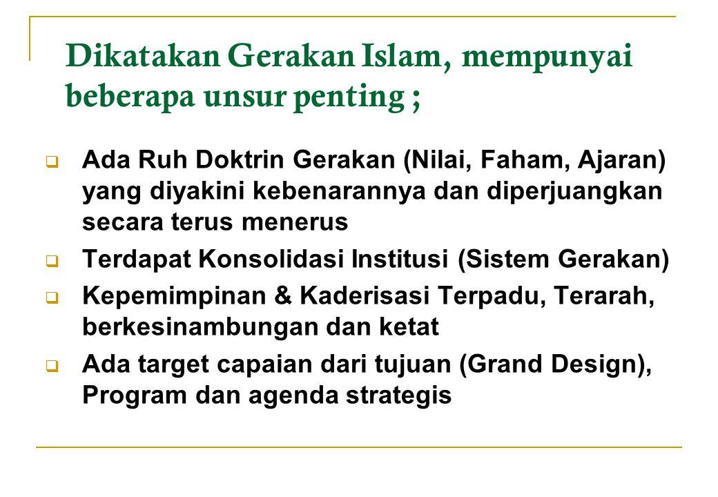 Dikatakan Gerakan Islam, mempunyai beberapa unsur penting ;