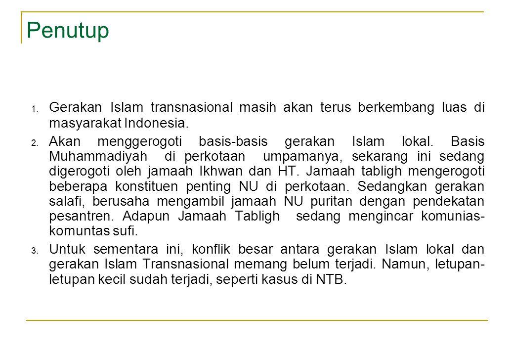 Penutup Gerakan Islam transnasional masih akan terus berkembang luas di masyarakat Indonesia.