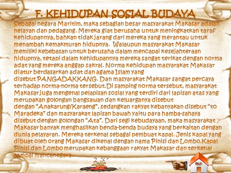 F. KEHIDUPAN SOSIAL BUDAYA