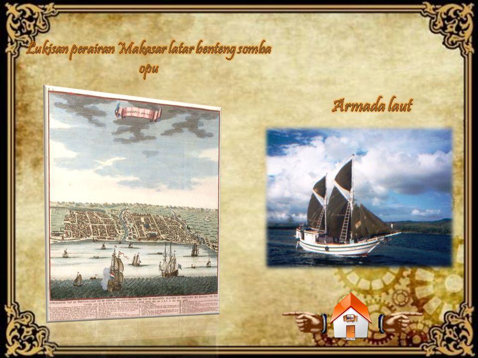 Lukisan perairan Makasar latar benteng somba opu