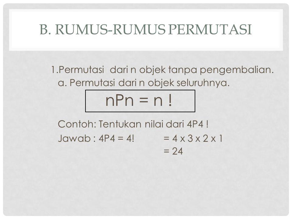 b. Rumus-rumus Permutasi