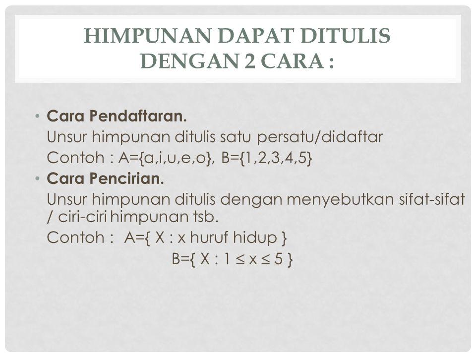 Himpunan dapat ditulis dengan 2 cara :