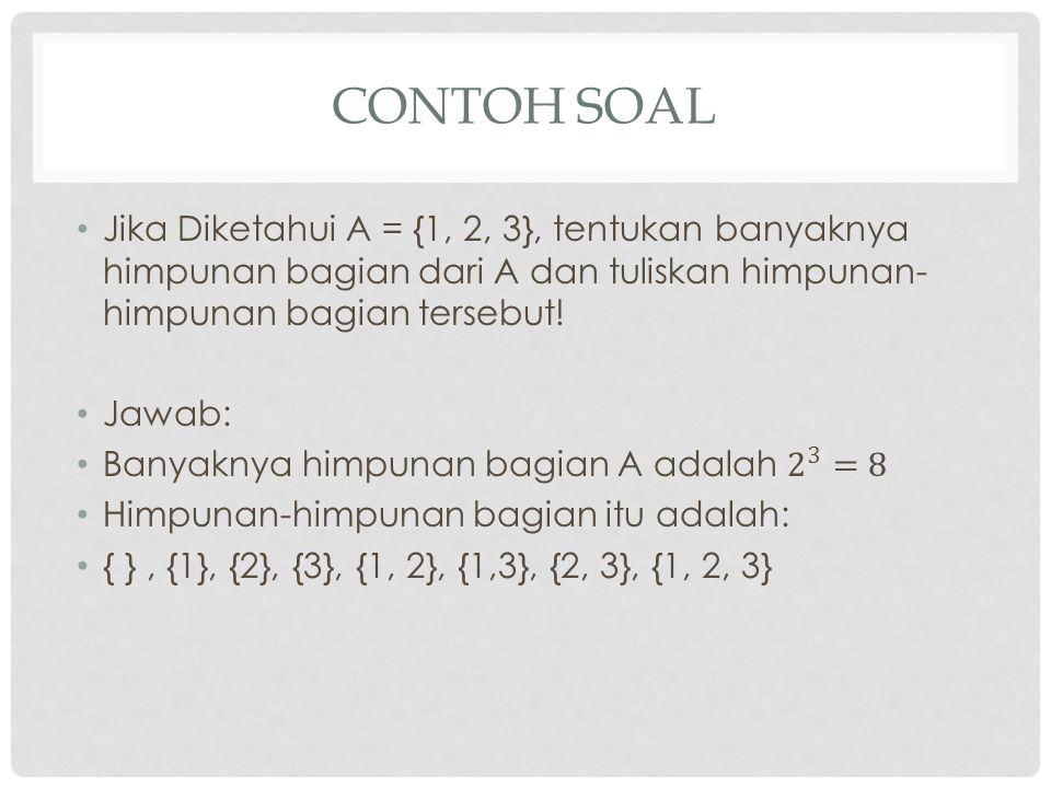 Contoh Soal Jika Diketahui A = {1, 2, 3}, tentukan banyaknya himpunan bagian dari A dan tuliskan himpunan-himpunan bagian tersebut!