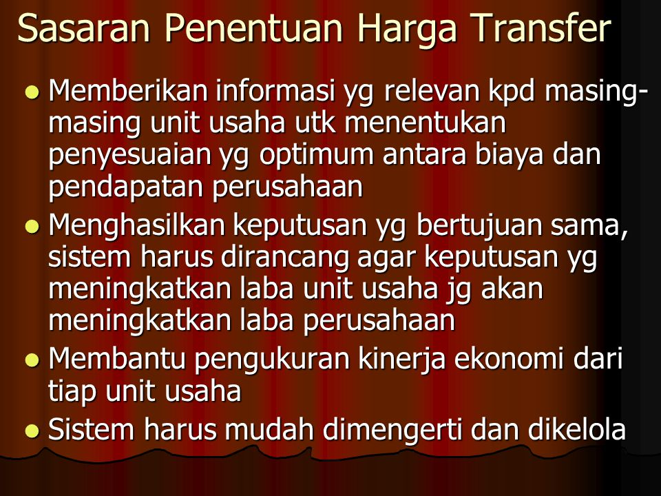 Sasaran Penentuan Harga Transfer