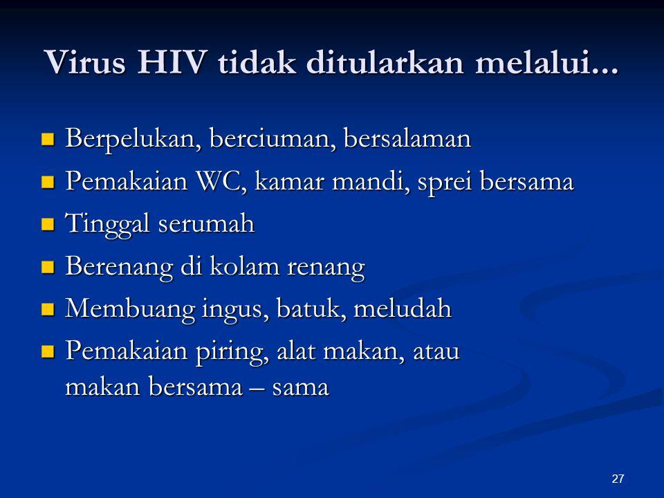 Virus HIV tidak ditularkan melalui...