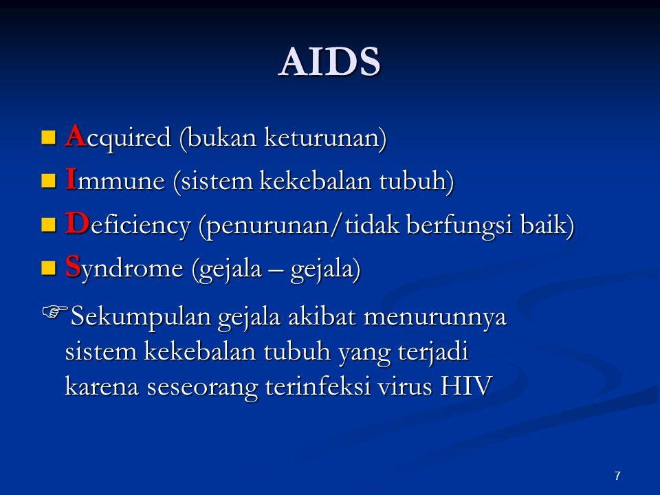 AIDS Acquired (bukan keturunan) Immune (sistem kekebalan tubuh)