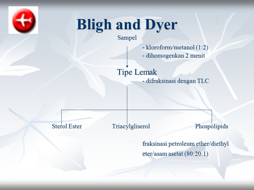 Bligh and Dyer - kloroform/metanol (1:2) Tipe Lemak