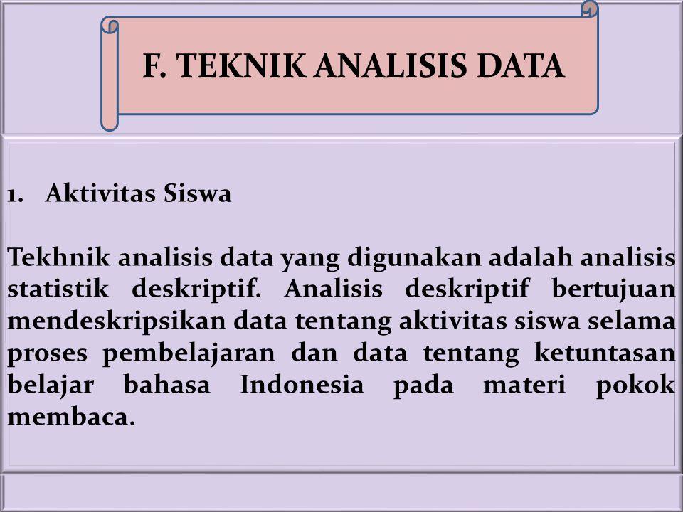 F. TEKNIK ANALISIS DATA Aktivitas Siswa